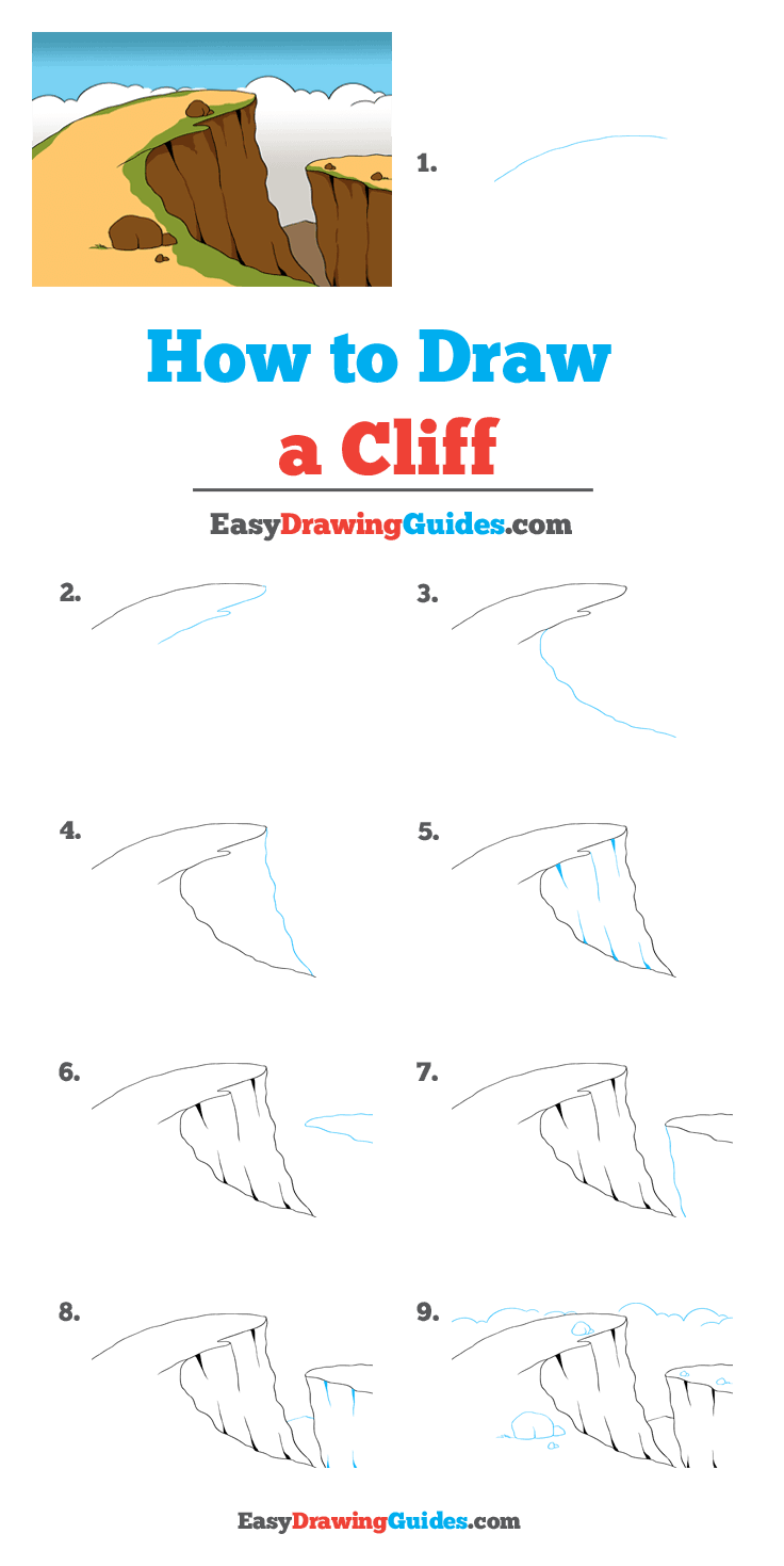 How To Draw A Cliff Really Easy Drawing Tutorial In 2020 Drawing Tutorial Easy Drawings Landscape Drawing Tutorial
