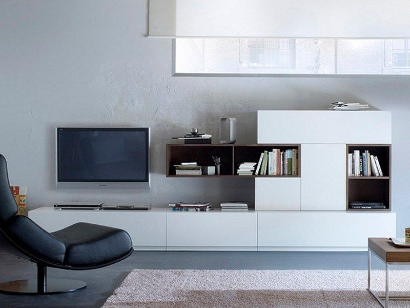 Fascinating White Living Room Design With Lacquered TV Wall System VERSO BY  TREKU   Use J