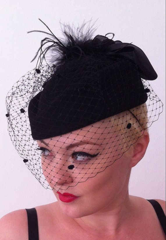 Vintage Pillbox Hat 1940 1950 Wool Felt Netted Veil By Hats4ladies Funeral Outfit Funeral Dress Outfits With Hats