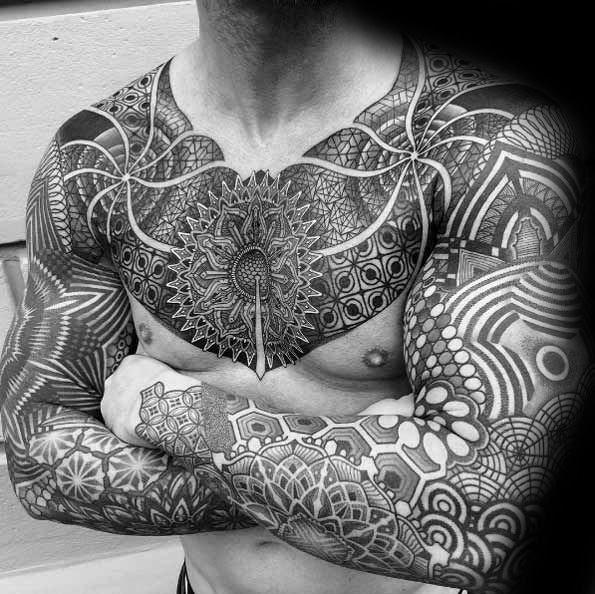 70 Mandala Tattoo Designs für Männer – Symbolic Ink Ideas #erkeksaçmodelleri