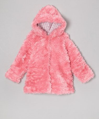 Bright Pink Faux Fur Hooded Swing Coat - Infant #zulily #zulilyfinds