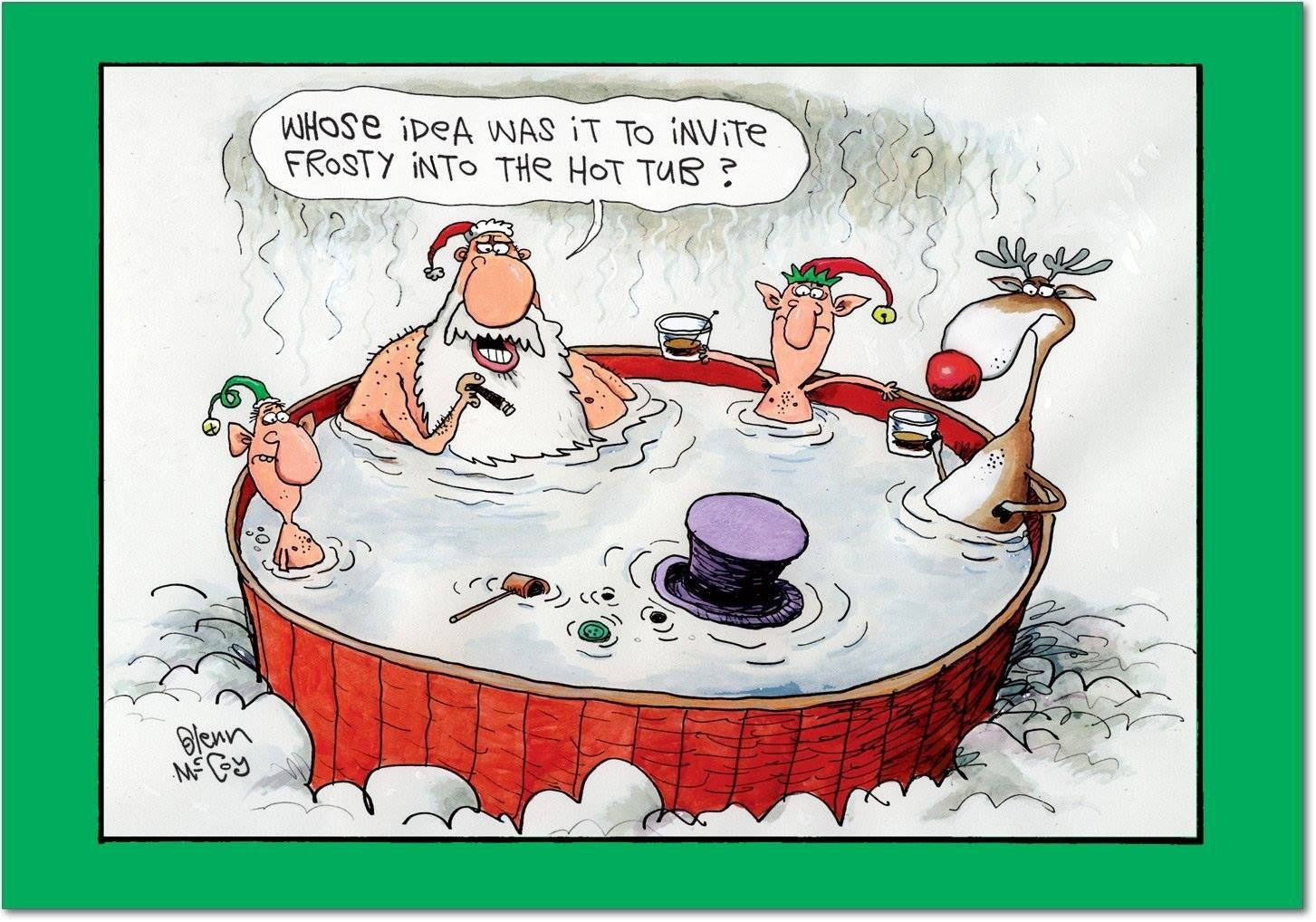 Whose idea was it to invite Frosty into the hot tub