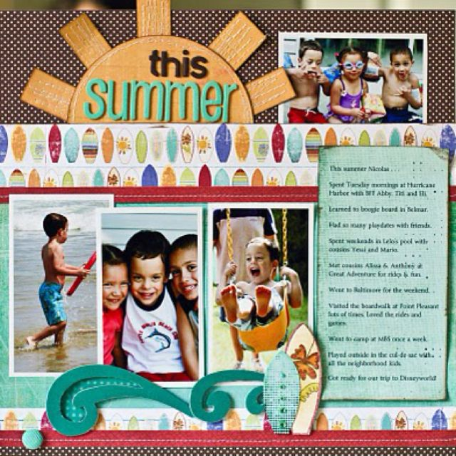#papercrafting #scrapbook #layout scrapbook layout beach summer fun