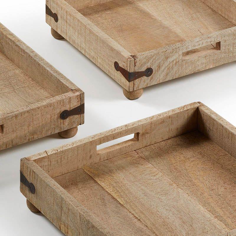 Set 3 bandejas madera natural interiors exteriors for Bandejas de madera