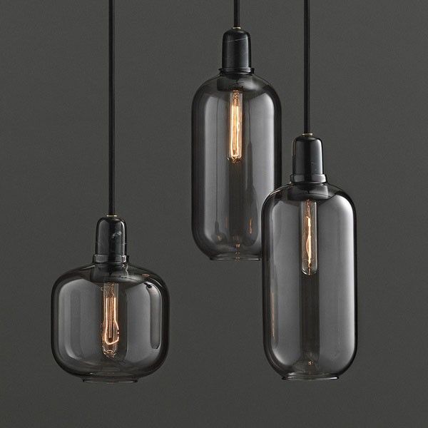 shade pendant top grey and modern industrial cafe ideas black glass with smoky light loft