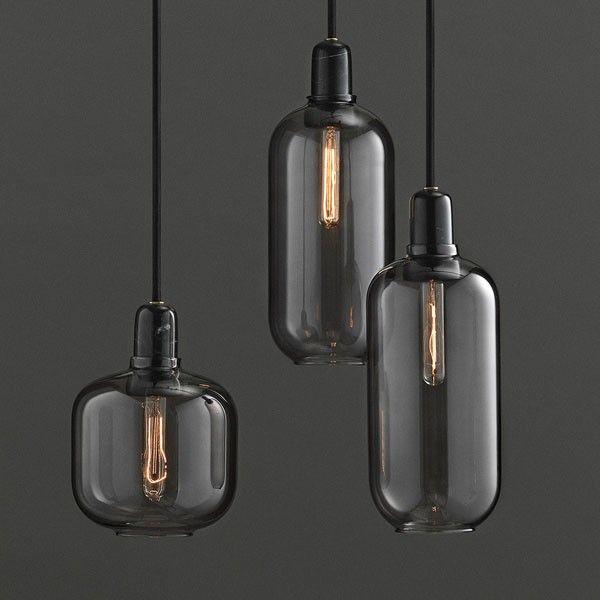 Amp Lamp Small Smoke Black Black glass Glass pendants and