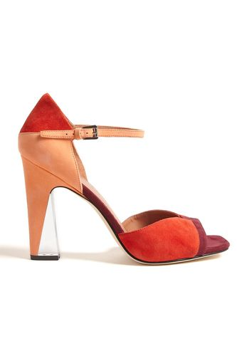 47120d215e5 Color blocked and clear is the perfect combo in these heels. Low Heel  Sandals