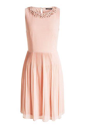 0cbf3fee82898f Esprit   Chiffon-Kleid mit 3D-Details und Plissees