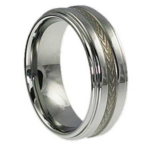 8mm Carved Inlay Indestructible Tungsten by HandcraftedRings1