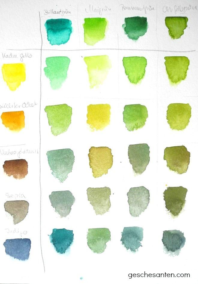 der gr ne faden mischen von gr nt nen in aquarell wasserfarben aquarell aquarell malen. Black Bedroom Furniture Sets. Home Design Ideas