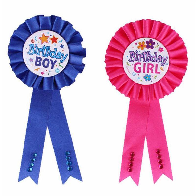 Pink Happy Birthday Award Ribbon Rosette Badge Pin Kids Boys Party Gift