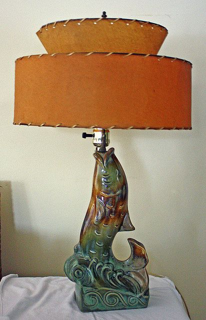 """This is another lamp that I acquired from Leland & Crystal Payton's collection. It is featured in their TV lamp book, """"Turned On"""" (pg 53). Possibly Royal Haeger."""