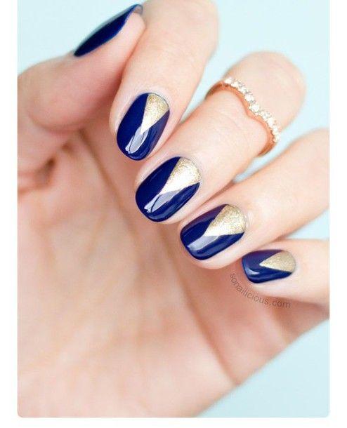 Nail Accessories: Navy, Blue, Nail Art, Nails, Gold Nails