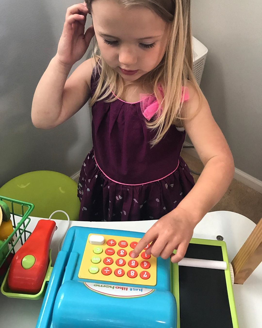 Use a cash register or old calculator to practice dialing