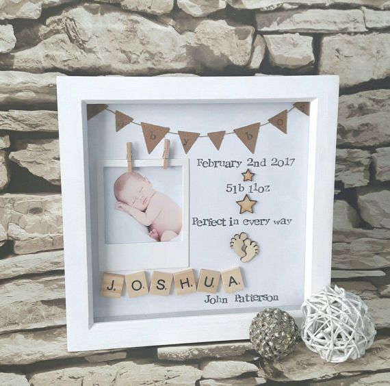 Photo of New Baby Gift, Present For New Baby, Baby Birth Gift, Personalised baby Scrabble Art Frame, New Baby Keepsake, Gift For New Baby.