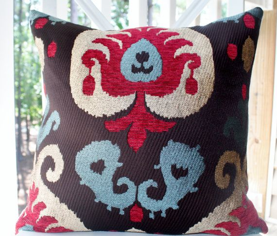 Decorative Pillow Damask Red Raspberry Brown Blue Gold Modern Fascinating Raspberry Decorative Pillows