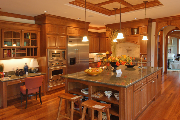 Fruitwood Cherry Cabinets And Granite Combinations Google Search Luxury Kitchen Decor Kitchen Furniture Design Kitchen Remodel Small