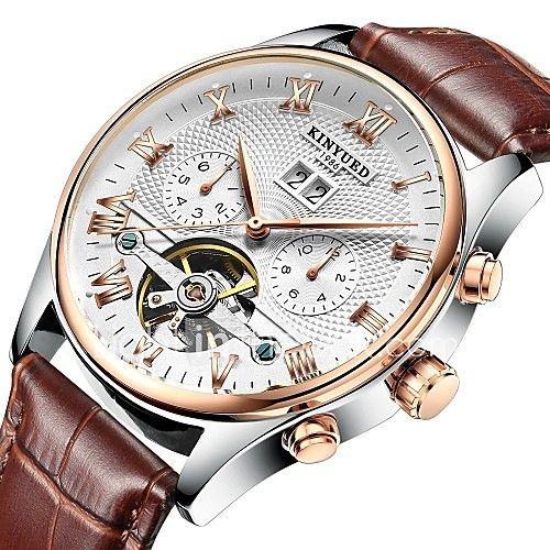 3d242473f96 KINYUED Masculino Relógio Elegante Relógio Esqueleto Relógio de Pulso  relógio mecânico Automático - da corda automáticamenteCalendário - BRL  R 135