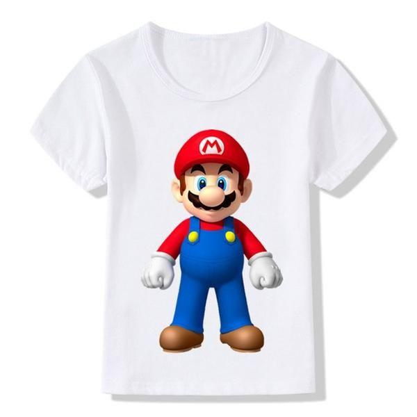6a51cc51c Super Mario Camiseta Kinderen Infantil Chicos Ropa de Verano de manga Corta  Camisas de Los Muchachos Muchachas Lindas Camiseta…