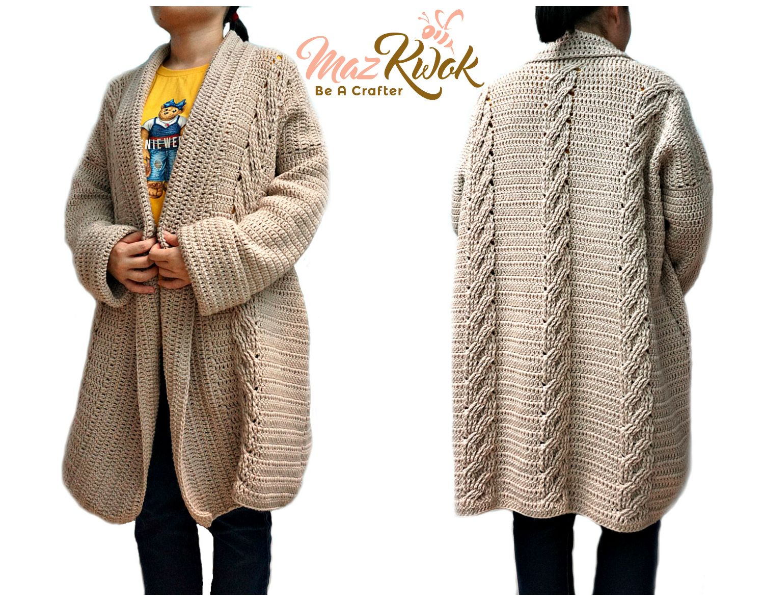 Learn to crochet an oversized and cozy cardigan with blended wool ...