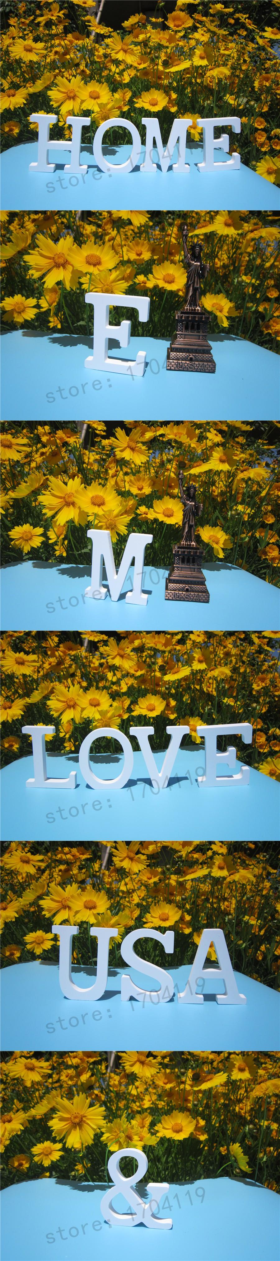 8cm Wood Carving Artificial Wooden White Letters Alphabet ZAKKA Home  Decoration Wedding Decoration Imitation Wood Letter
