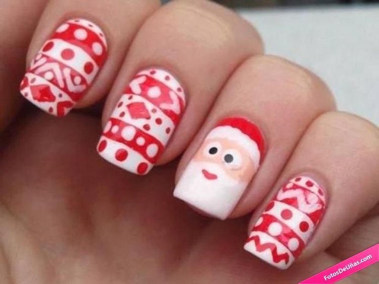 Uñas Para Navidad Con Papá Noel Fotos De Uñas Decoradas Manicuras Y Más Pintados De Uñas Navideños Uñas Navideñas Uñas Navidad