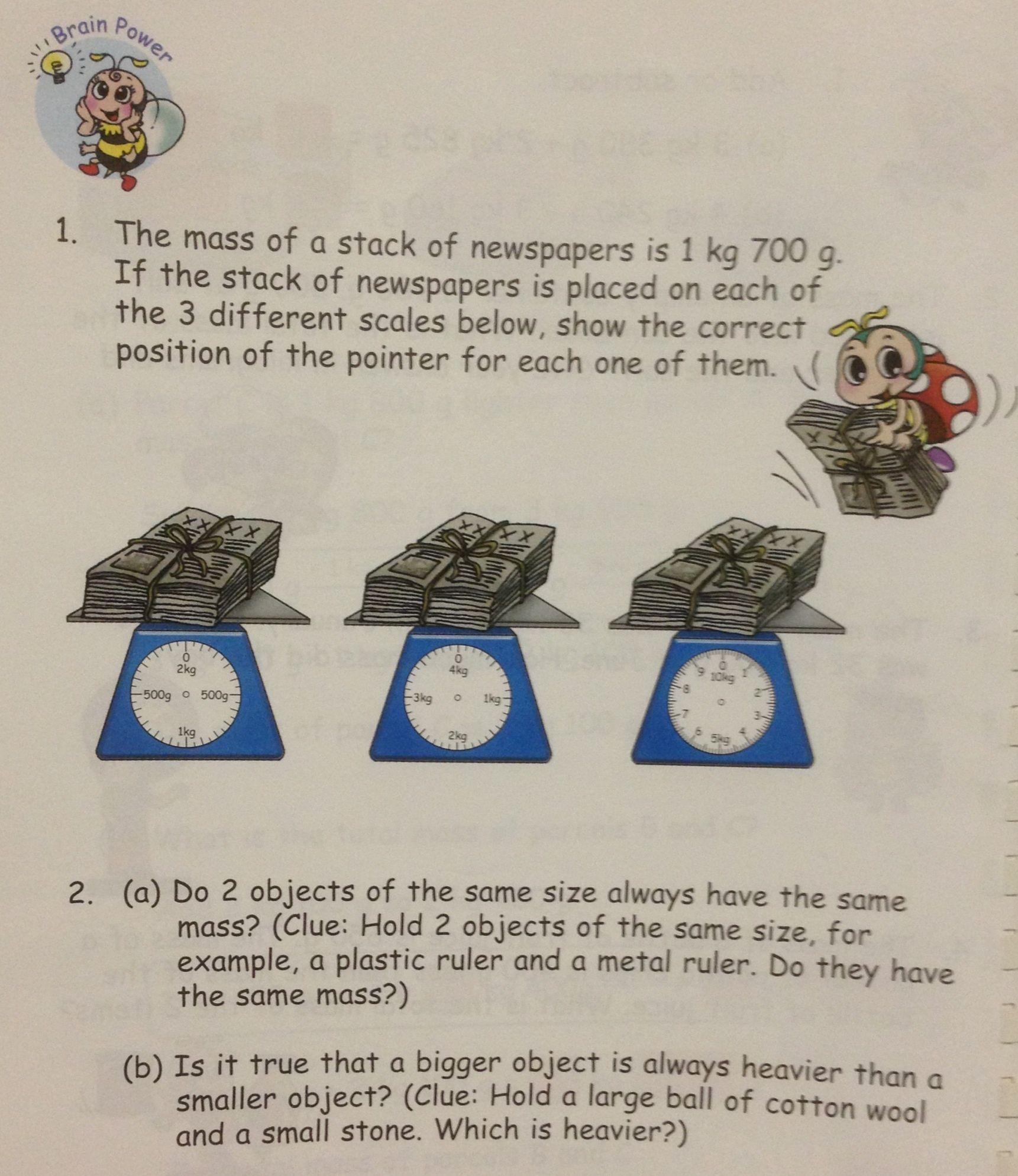 Two Grade 3 Questions On Mass Singapore Math Mass Weight