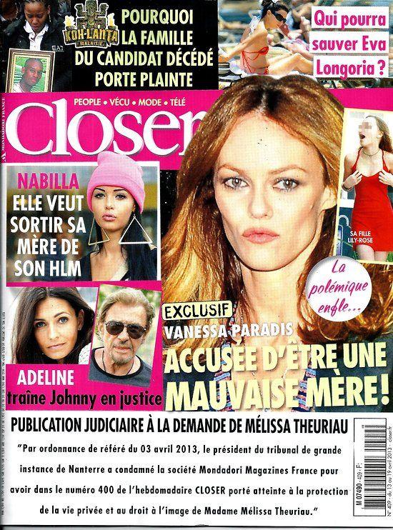 CLOSER n°409 13/04/2013 Vanessa Paradis/ Nabilla/ Adeline