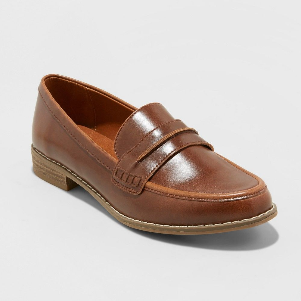 6fc47d99bff Women s Quinn Wide Width Faux Leather Closed Back Loafers - Universal  Thread Cognac (Red) 7.5W