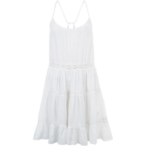 Monsoon Laura Lace Insert Cami Beach Dress (860 MXN) ❤ liked on Polyvore featuring dresses, vestidos, white beach dresses, accessorize dresses, white dress, lace panel dress and beachy dresses