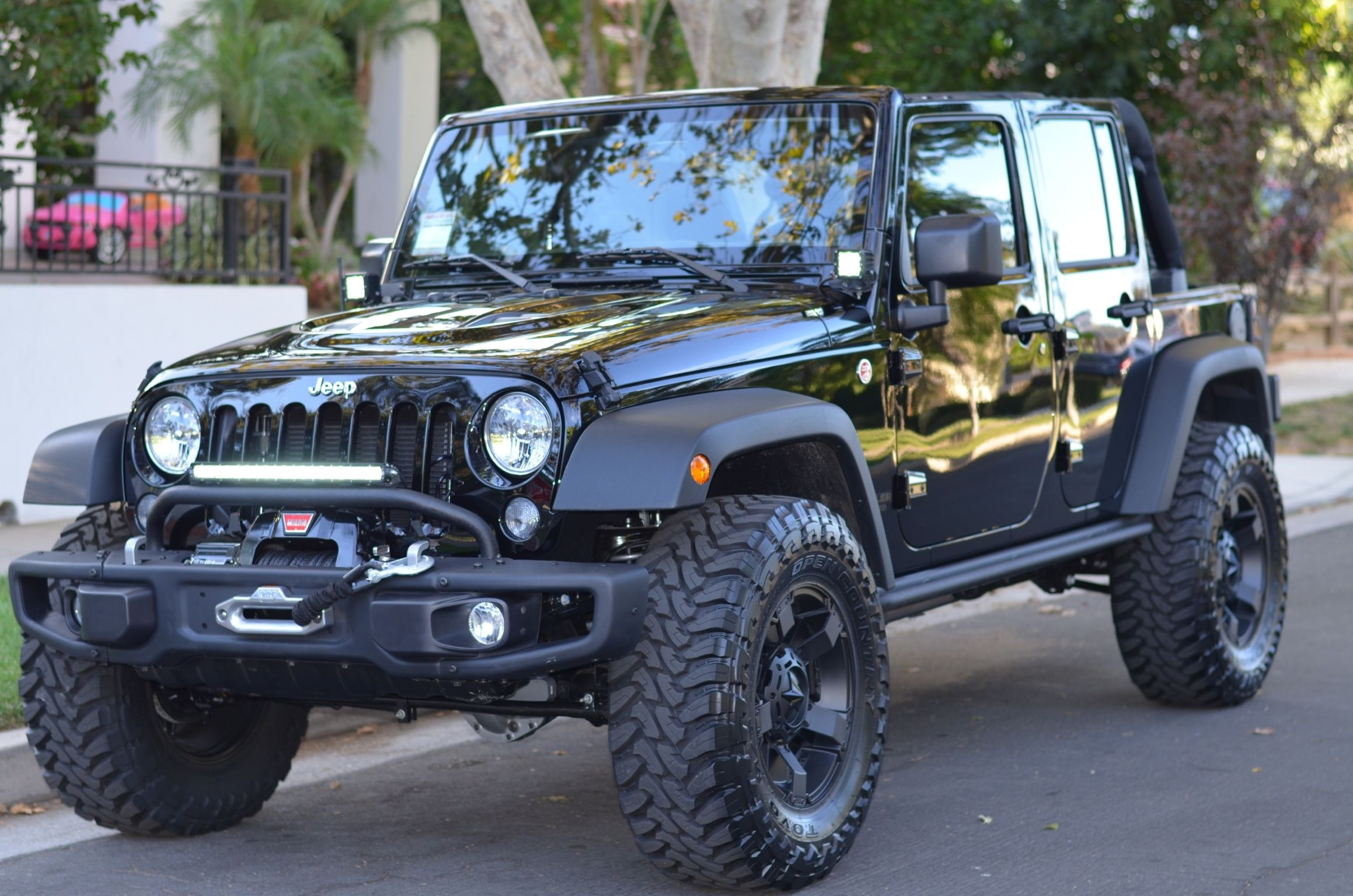Jeep Jk With Rockstar Wheels And Toyo Tires New Front Bumper With