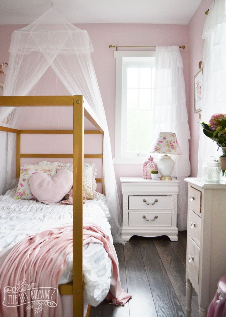 A Pink White Gold Shabby Chic Glam Girls Bedroom Reveal Little C S Room Makeover For The Orc The Diy Mommy Shabby Chic Girls Bedroom Pink Bedroom Design Pink Bedroom Decor