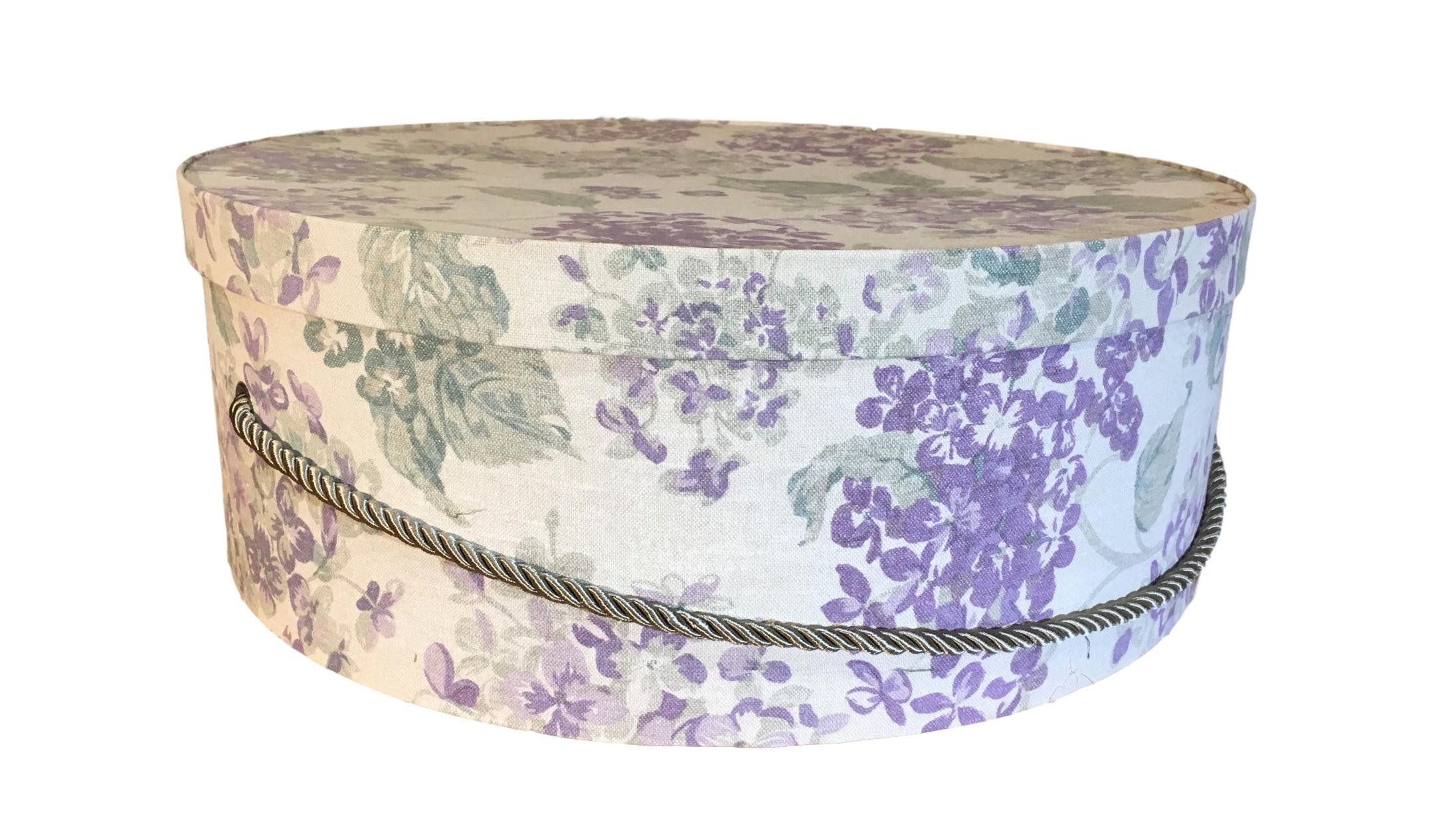 Extra Large Hat Box In Lilac And Tan Floral Decorative Fabric Covered Hat Boxes Round Storage Box Keepsake Box With Lid N Fabric Decor Large Hats Hat Boxes