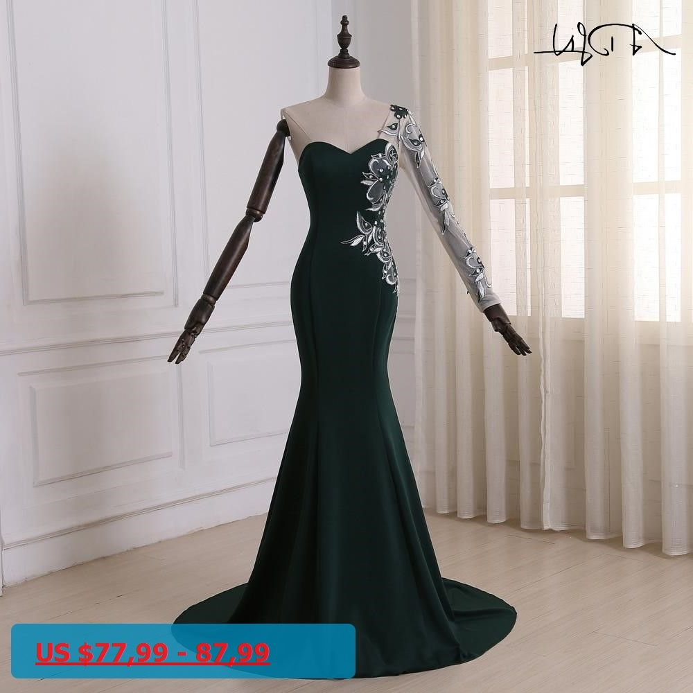 Adln dark green mermaid evening dress sweetheart long sleeves