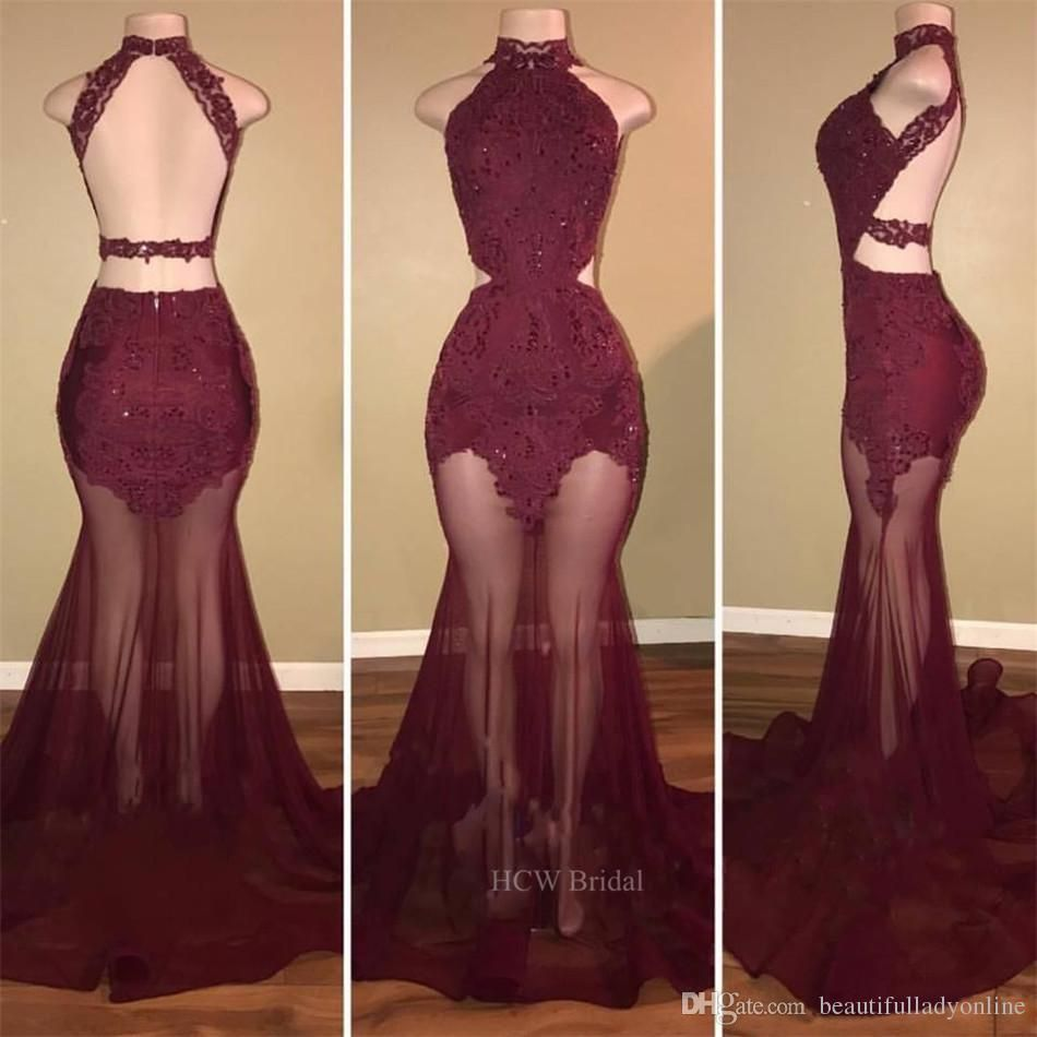 Sexy dark burgundy see through prom dresses backless off the