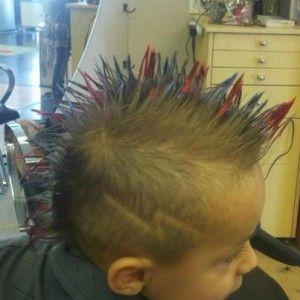 Mohawk Lightnening Bolt Red And Blue Tips Boy Hairstyles Mohawk Haircut Hair Beauty