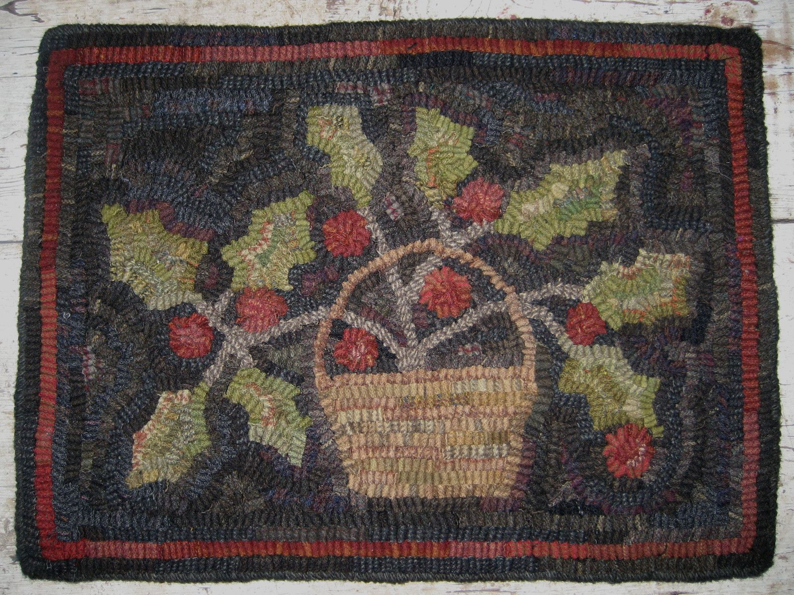 Hand Hooked Hollyberry Basket Rug