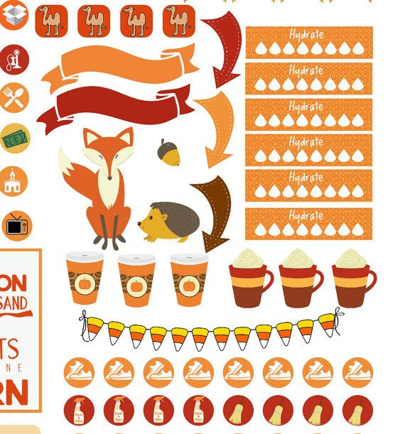 Autumn days printable planner stickers 2 pumpkins pumpkin spice bible church cleaning exercise icons