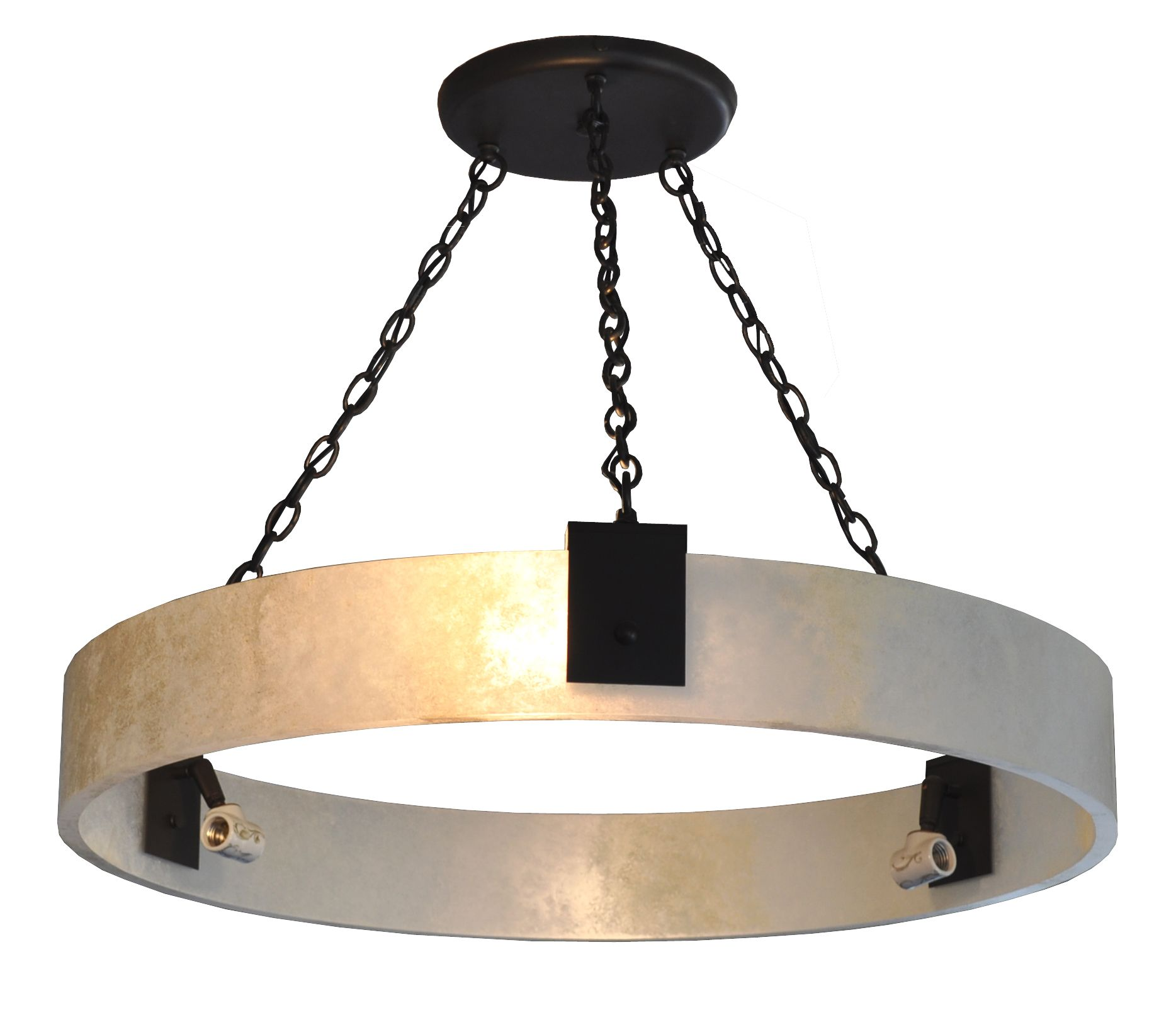 7169 Mb6 Ir H Ba Faux Alabaster Ring Chandelier With Stenciled