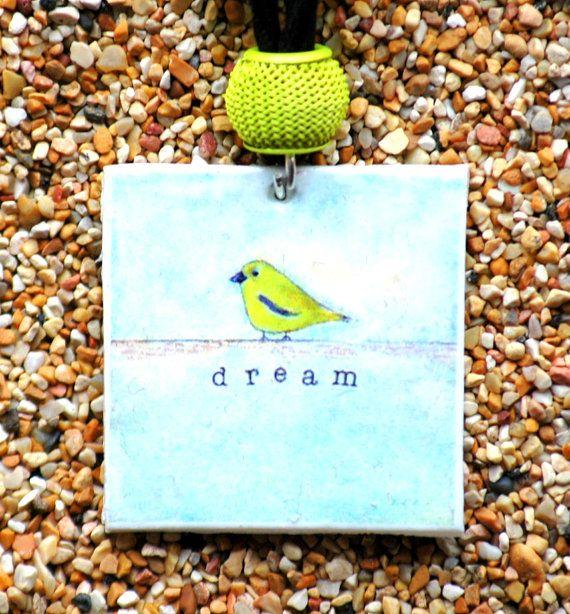 Pendentif oiseau or jaune