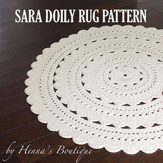 Crochet Doily Rug Pattern SARA 37 inch rug PDF | tapetes | Pinterest ...