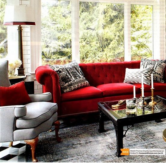 Red Sofa With Black And White Contrast Red Couch Living Room