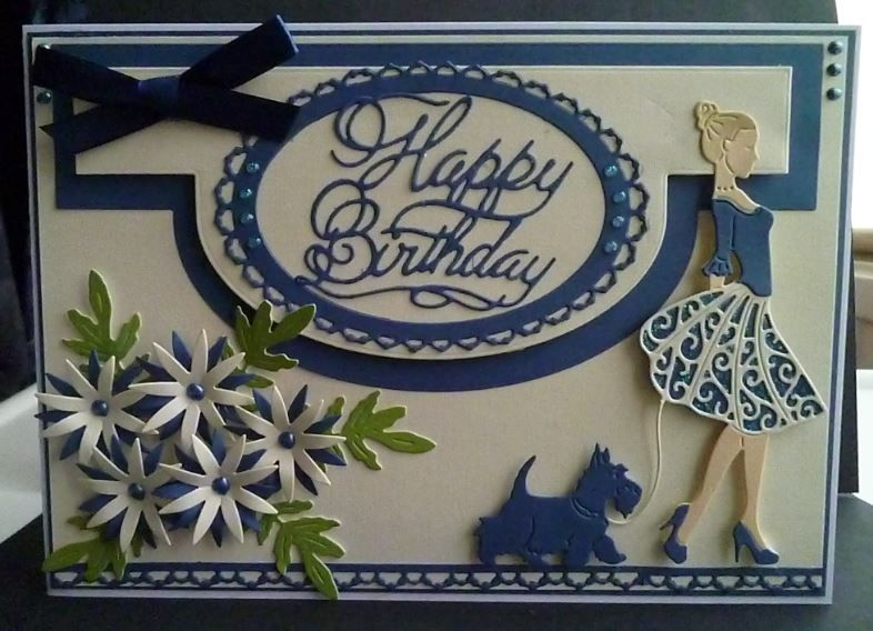 Card made using the free dies from issue 35 of tattered lace magazine