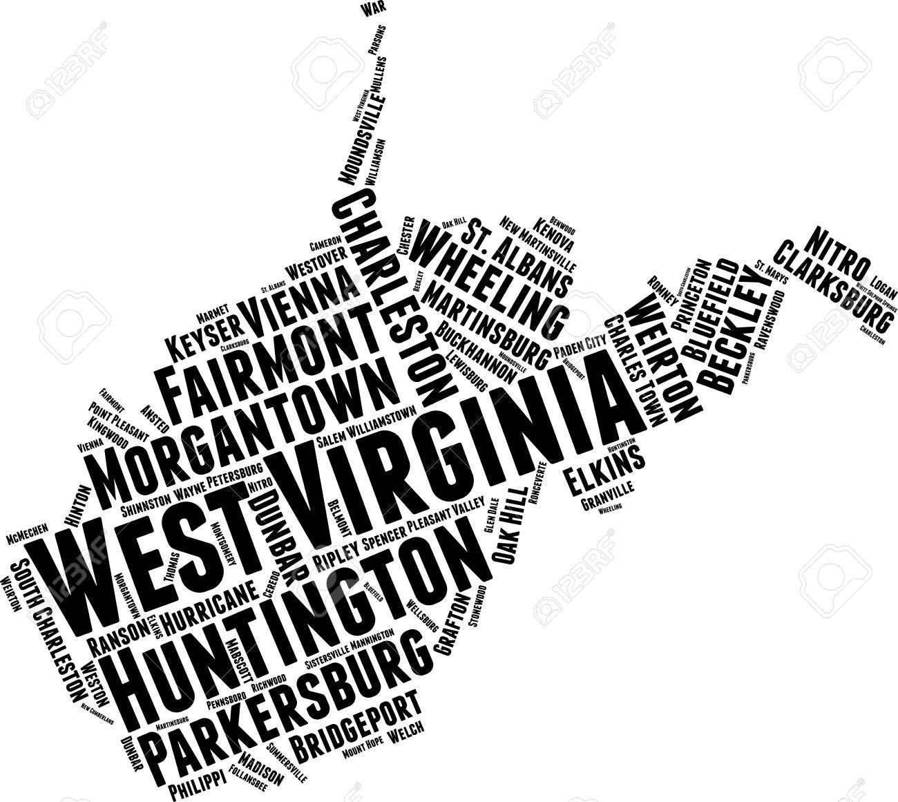 West Virginia Word Map Word Cloud Typography Concept Word Map Cloud Typography Word Cloud