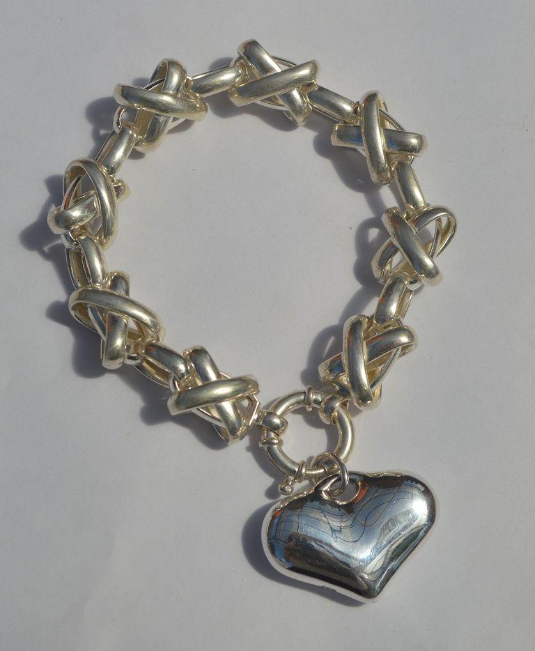 pulsera cruz inflada+dije corazón