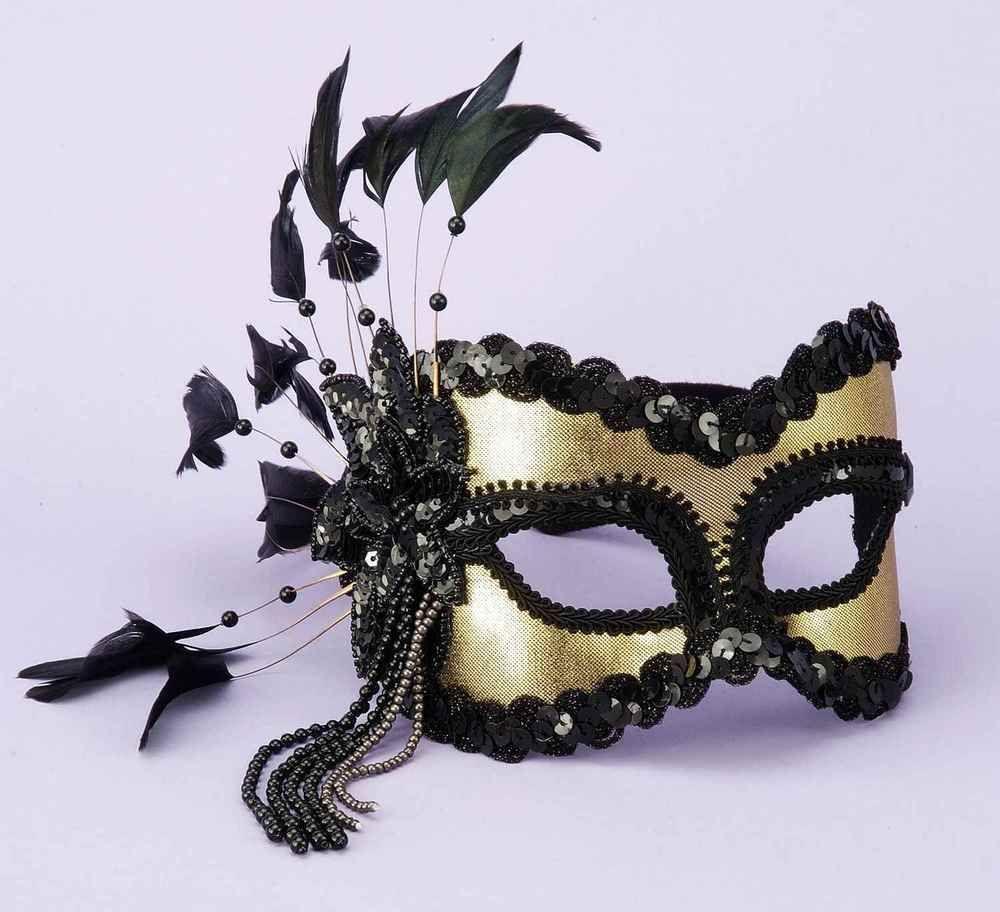 Detalles acerca de Negro y Oro Veneciana Mardi Gras Máscara ...