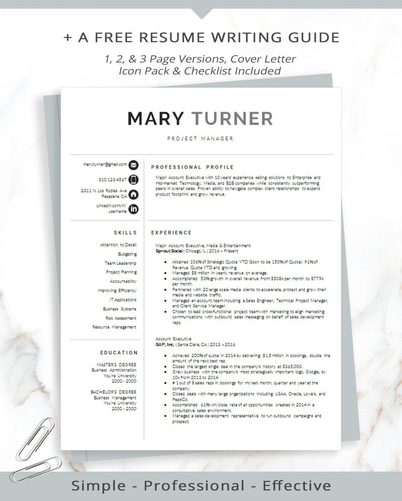 Professional Resume Templates and Cover Letter For