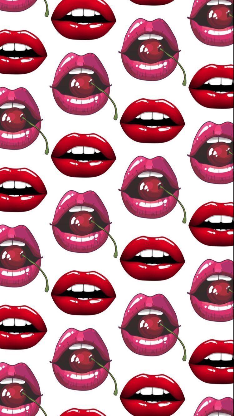 Pinklips Lip Wallpaper Emoji Wallpaper Cellphone Wallpaper