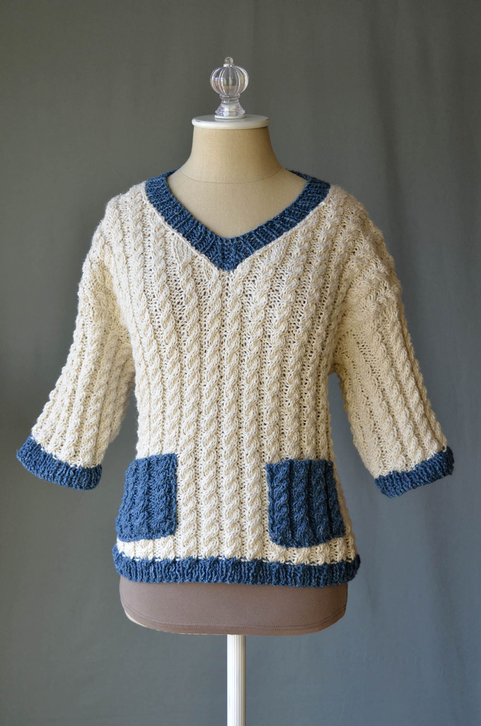 Free Knitting Pattern - the cabled Varia Pullover sweater in Fibra ...