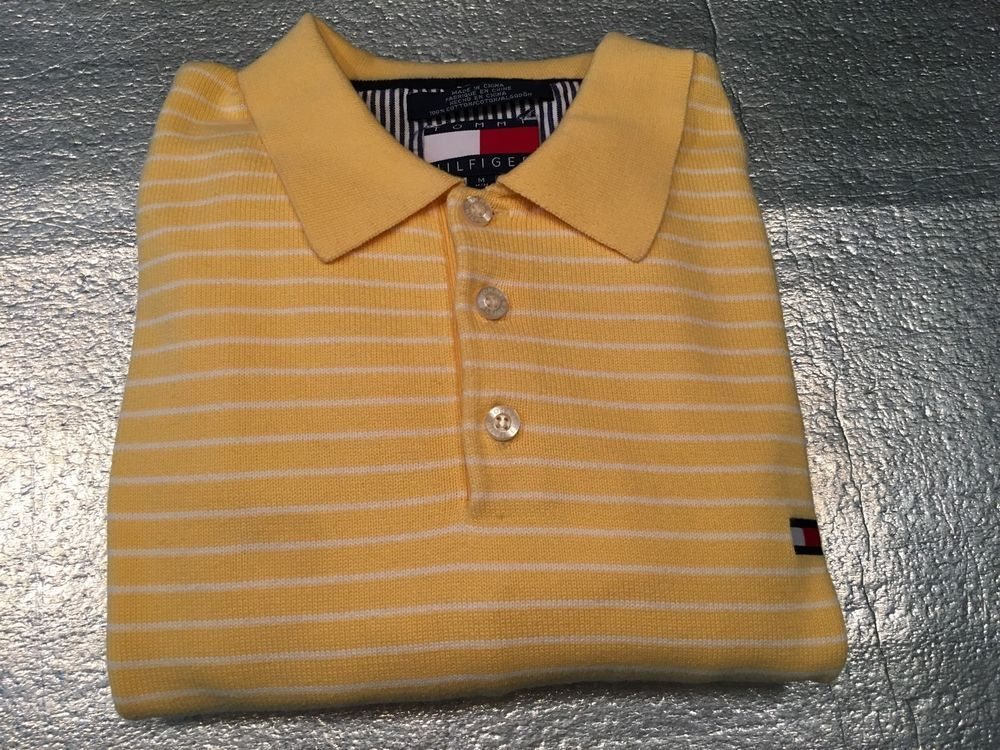 Men's Vintage TOMMY HILFIGER Long Sleeve 3-Button Pullover Sweater Yellow Size M #TommyHilfiger #Polo